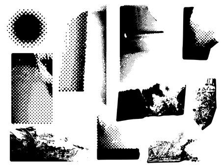 variety of grunge and halftone corners Illustration
