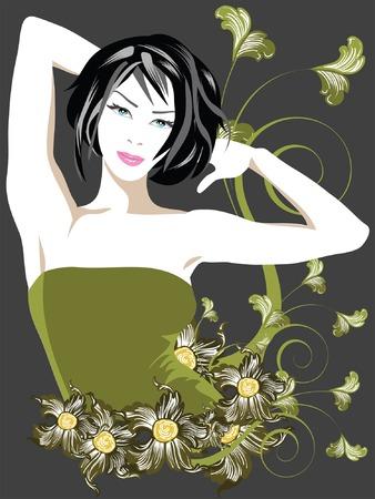 レトロ: ファンシー · レディで花の要素  イラスト・ベクター素材