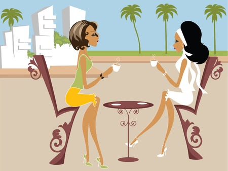 chic woman: Mss Boo having tea with a friend Illustration
