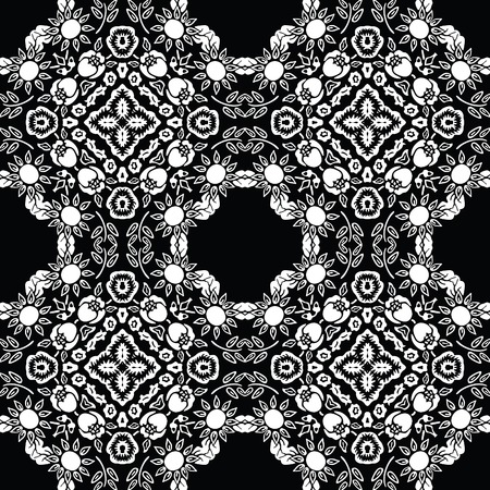 textiles: retro repeating floral tiles Illustration