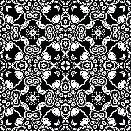 retro repeating floral tiles Illustration
