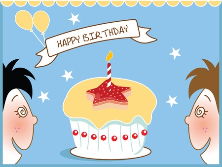 kids and birthday cake over blue background Vector