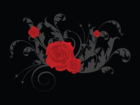 scroll background: valentine card with florals Illustration