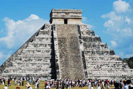 equinox: mayan pyramid over blue sky at equinox day Mexico
