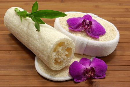 Bath sponges, scrubs, orchids, and bamboo plant photo