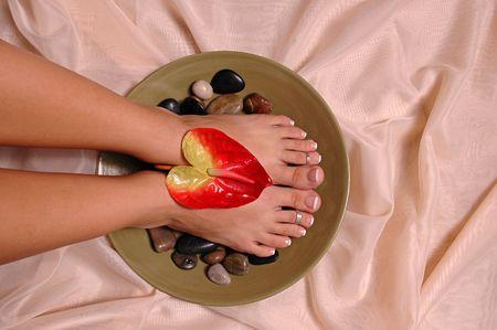 silk cloth: Un paio di pedicured piedi per panno di seta  Archivio Fotografico