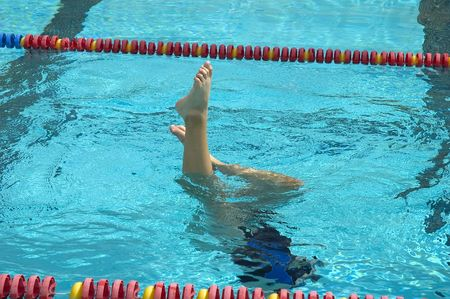 Synchronized swimmer during practice photo