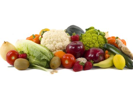 nonfat: Different kinds of vegetables and fruits on white background