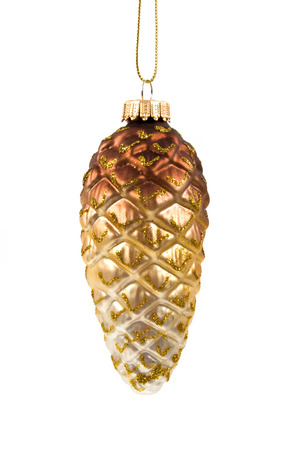 cone shaped: Pine cone shaped glass ornament