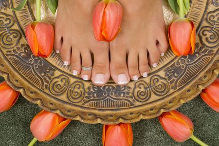 Spa treatment with beautiful elegant tulips