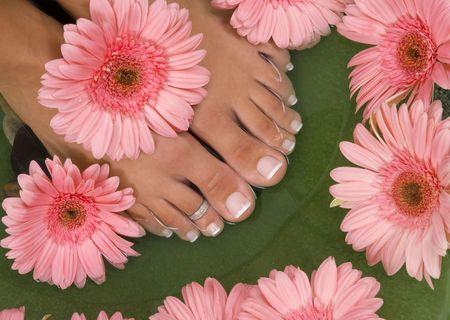 Spa treatment with elegant pink gerberas  photo
