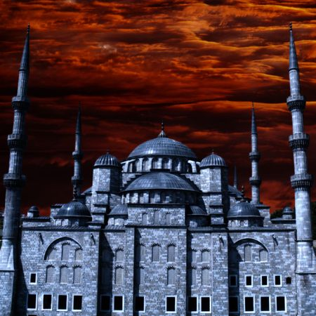 gloomy: Blue Mosque in Istanbul, Turkey