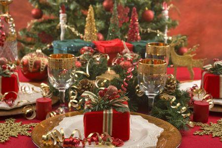 Beautifully decorated Christmas setting photo