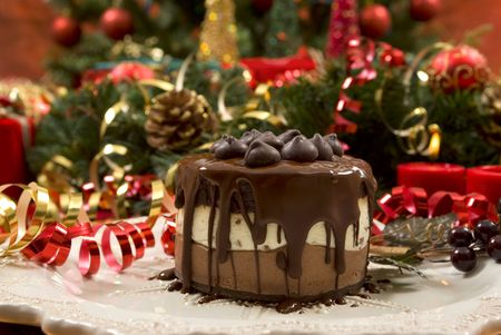 Beautifully decorated Christmas setting with gourmet desert photo