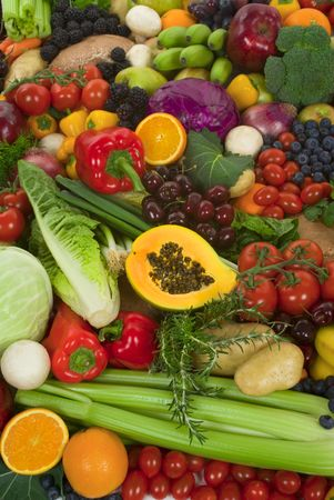 Organic healthy vegetables and fruits photo