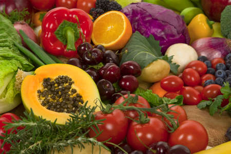 Healthy organic vegetables and fruits Stock Photo - 2429877
