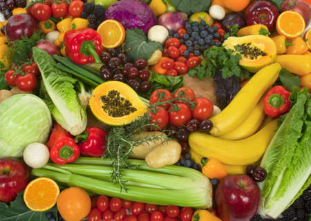 fruits background: Organic healthy vegetables and fruits