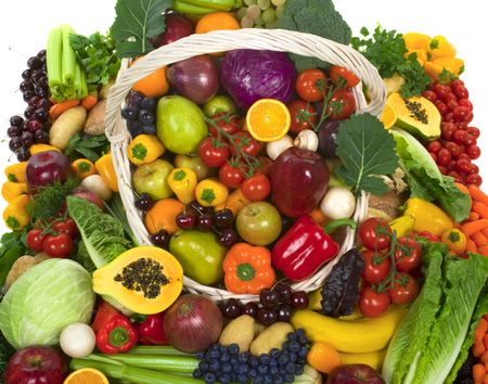 fruit stand: Organic vegetables and fruits Stock Photo