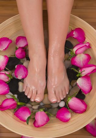manicure and pedicure: Being pampered by beautiful aromatic pink roses and therapeutic herbal water bath(Valentine Spa)
