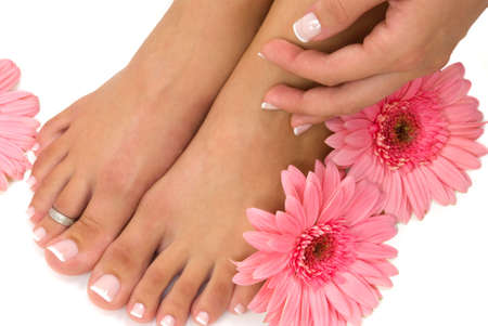 Pedicured feet and pink daisies Stock Photo - 2471742