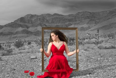 Live painting (girl wearing a designer dress in the Nevada desert on a gloomy winter day) photo