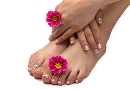 manicure woman: Spa treatment with beautiful exotic flowers
