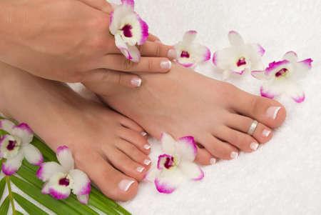 pedicure: Spa trattamento con belle esotiche orchidee