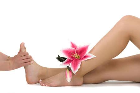 pies sexis: La terapia de masaje  Foto de archivo
