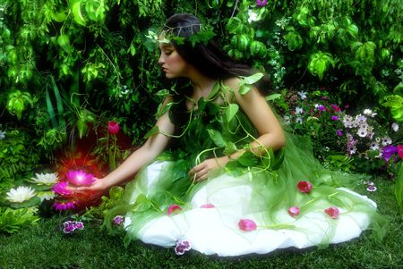 night time: Enchanted garden and the fairy (night time scene with misty feeling, indoor shoot)