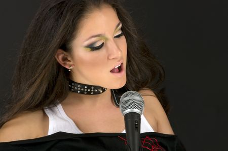 Singing rock star with beautiful make up Stock Photo - 3242708