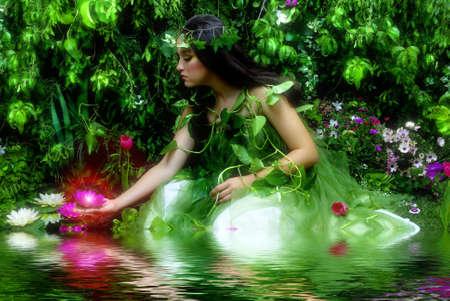 bassin jardin: Enchanted Garden et de la f�e (sc�ne de nuit avec le sentiment brumeux, les salles de shoot)