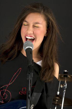 Singing rock star photo