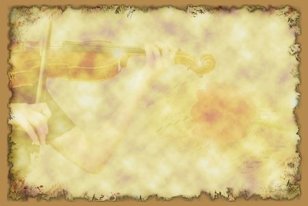 tune: Grunge background with girl playing violin musical notes and a tulip  Stock Photo