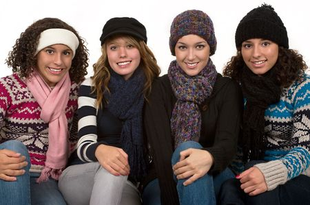 Teenage friends on a very cold winter day photo