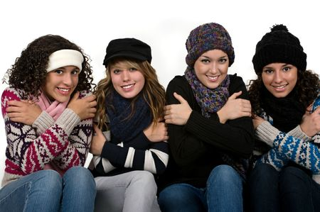 cold: Teenage student friends on a very cold day