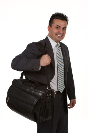 Traveling businessman with his laptop bag photo
