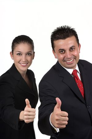 thumbup: Businessman and woman with thumbs up Stock Photo
