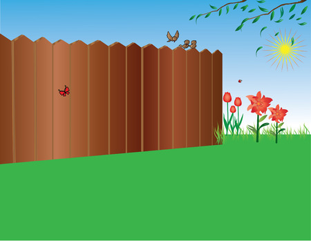 Beautiful garden with flowers and birds (vector) Stock Vector - 4254627