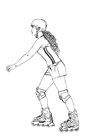 roller blade: Vector of a girl rollerblading