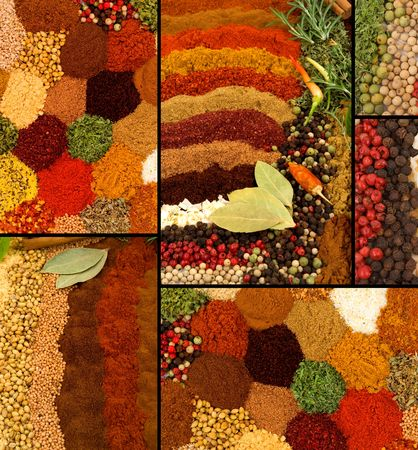 Healthy organic spices and herbs collage photo