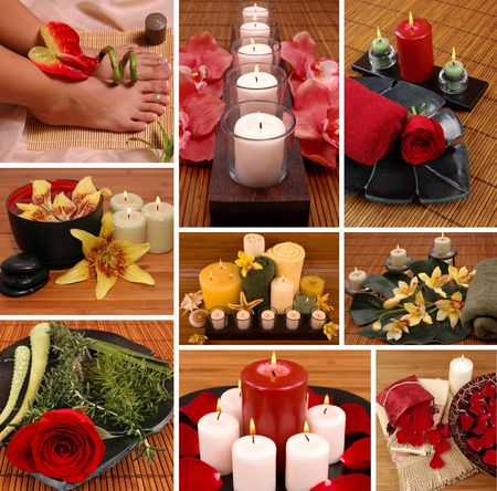 Aromatheraphy, spa, pedicure collage