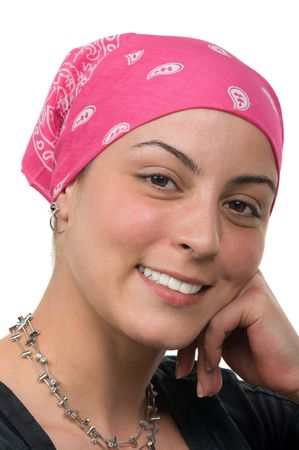 Beautiful cancer survivor with bandana ( 2 months after chemo) photo
