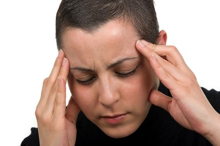 chemo: cancer survivor with headache (2 months after chemo) Stock Photo
