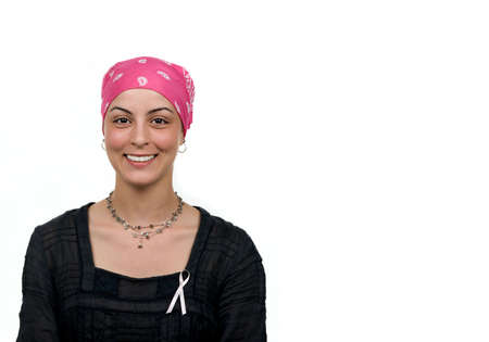Beautiful cancer survivor with bandana ( 2 months after chemo) Stock Photo - 4662120