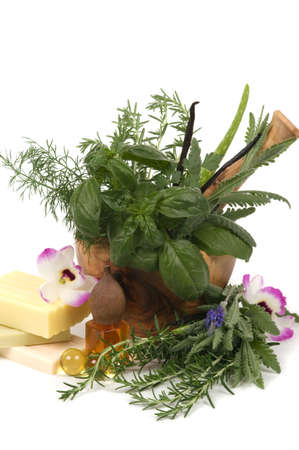 holistic healing: Relaxing herbs, oil and soaps for aromatherapy