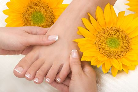 manicure and pedicure: Massage in a spa Stock Photo