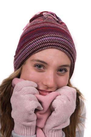warm clothes: Studente con vestiti caldi in una fredda giornata