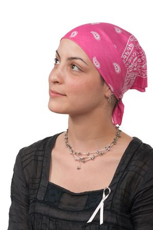 Real breast cancer survivor 2 months after chemotherapy Stock Photo