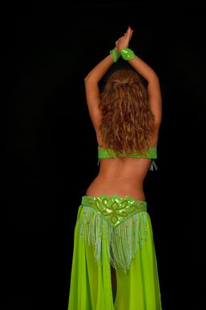 Belly dancer with beautiful green costume Stock Photo - 7797152