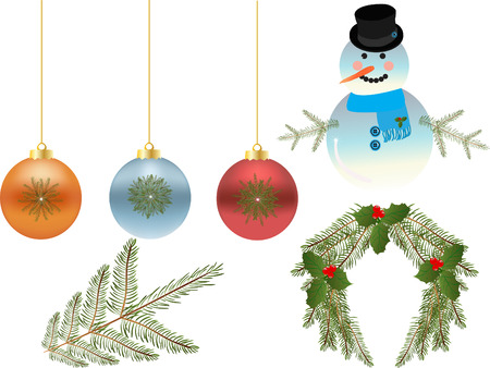 swag: Christmas, snowman, ornaments and wreath Illustration